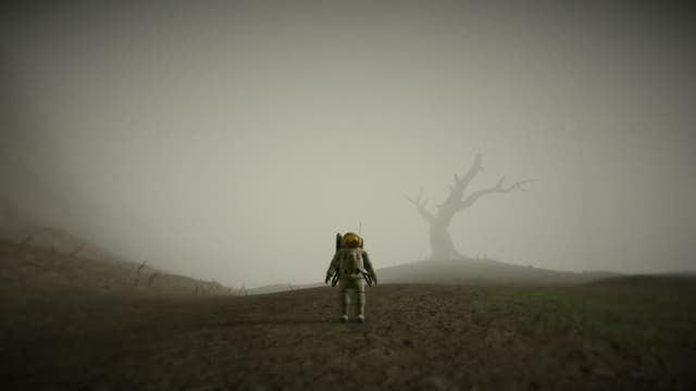 Der Astronaut steht vor einem toten Wald in Grau.