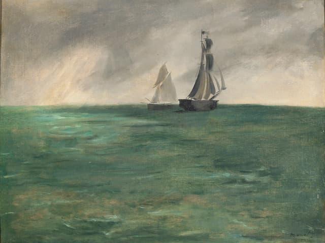 Gemälde eines Meeres mit zwei Booten.