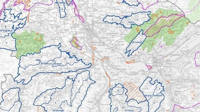 Karte mit den eingezeichneten Landschaften.