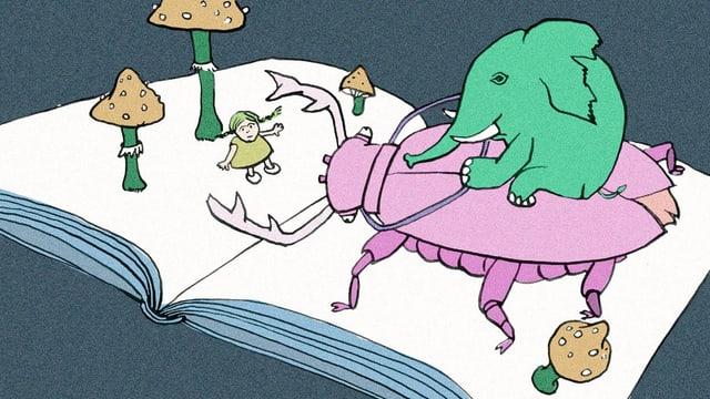 Illustration: Elefant reitet auf einem Käfer durch einen Wald aus Pilzen.