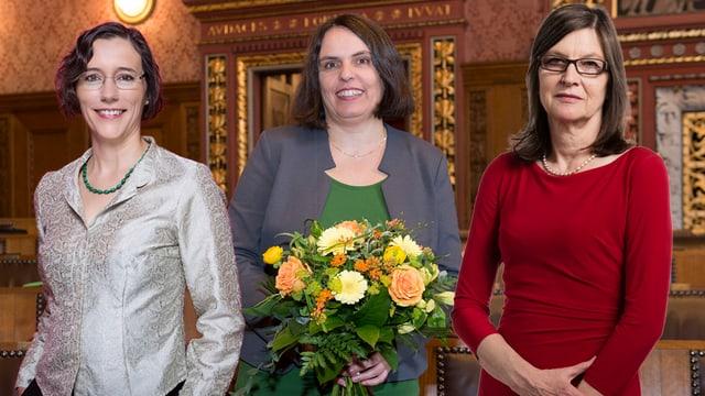 Heidi Mück, Elisabeth Ackermann und Silvia Schenker im Grossratssaal (Montage).