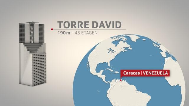 Grafik des Torre David und Standort auf der Weltkarte