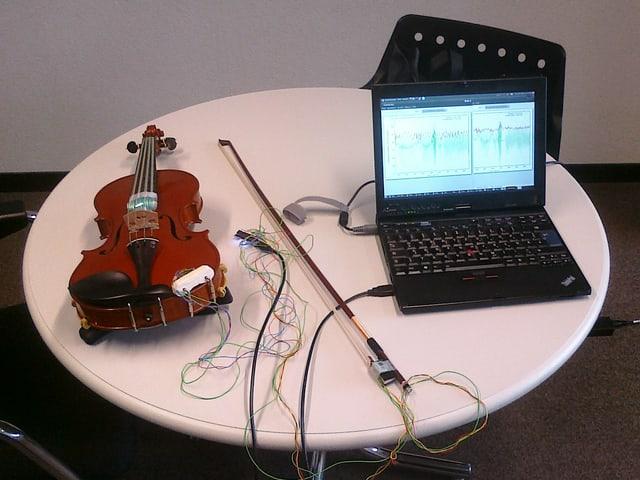 Geige mit Druck-und Positionssensoren und der Geigenbogen mit Positionssensoren. Der Computer zeigt die Werte grafisch.