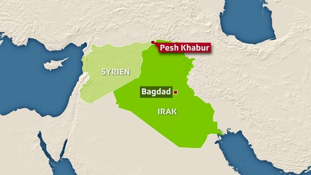 Karte Iran Syrien Grenzort Pesh Khabur