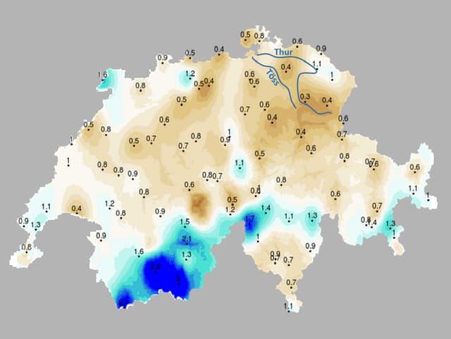 Grosse Teile der Schweiz sind braun eingefärbt, besonders die Ostschweiz. Die Südwalliser Täler hingegen sind dunkelblau eingefärbt.