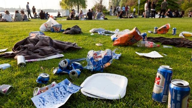 Mit Abfall übersäte Wiese am Zürichseeufer.