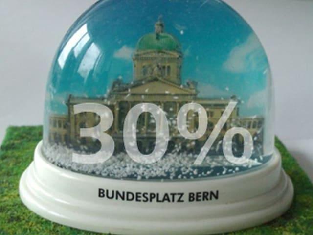 Glaskugel mit Bundeshaus, darüber die Zahl 30 und das Prozentzeichen.