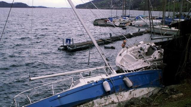 Gekenterte Segelboote im Hafen von Arth nach dem Sturm Lothar 1999.