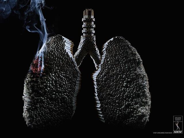 Grafik, die Lunge bestehend aus Zigaretten zeigt