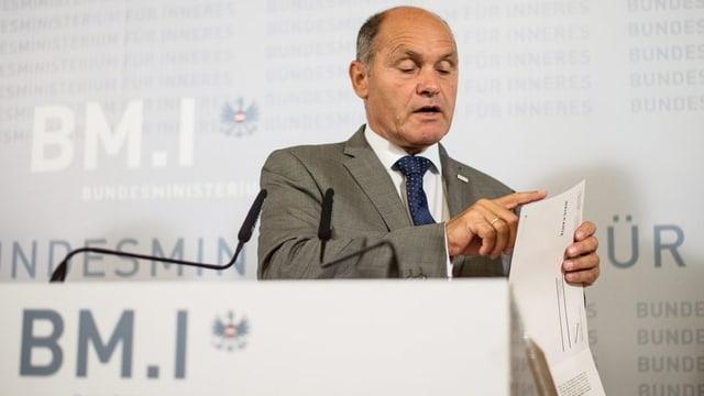 Wolfgang Sobotka minister dal intern da l'Austria.