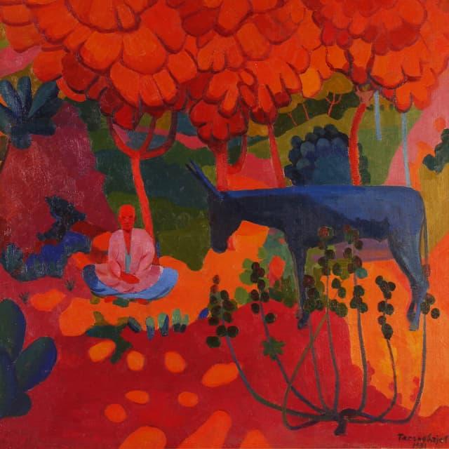 Das «Crimson Autumn», eines der Bilder, die der usbekische Künstler Ural Tansykbaev vor der Zensurbehörde versteckte: Es zeigt in leuchtenden Farben einen sitzenden Mann und ein Pferd.