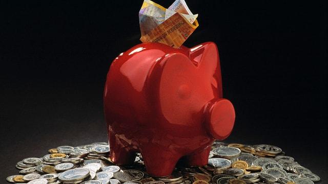 rotes Sparschweinchen mit Münzen drumrum