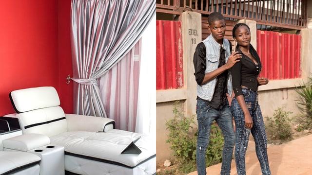 Geteiltes Bild: Rechts ein Paar posiert, links eine Ledersofagarnitur.