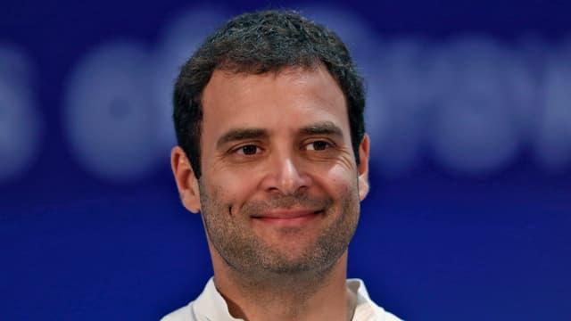 Porträtbild von Rahul Gandhi.
