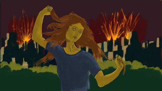 Illustration einer jungen Frau mit geschlossenen Augen, die sich vor einer brennenden Stadt die Haare rauft.