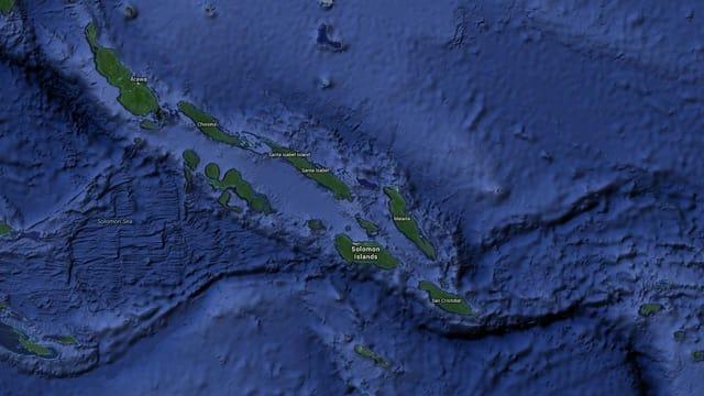 Kartenausschnitt der Solomon Inseln.
