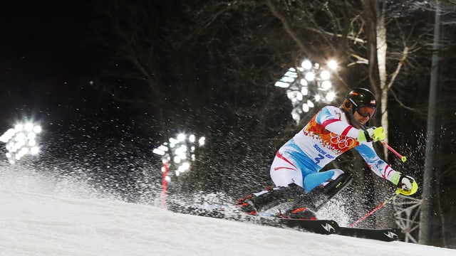 Mario Matt durant sia cursa d'aur als gieus olimpics da Sotschi avant in onn.