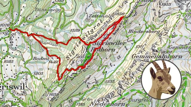 Kartenausschnitt mit roter Route drin