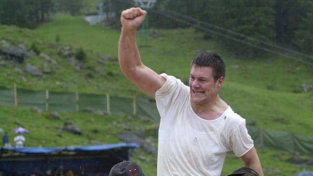 Thomas Sutter, Appenzell, gewann das erste Schwägalp-Bergkranzfest in der Nordostschweiz.