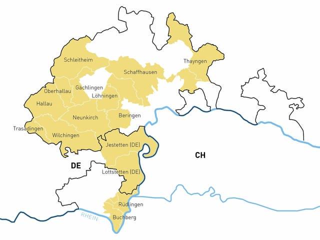 Auf einer Karte ist der regionale Naturpark eingezeichnet.
