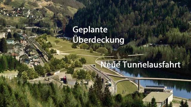 Fotomontage mit geplanter Überdeckung der Autobahn in Airolo