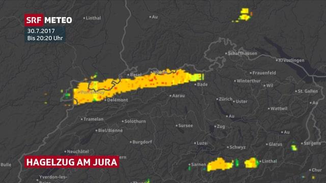 Schweizer Karte mit gelber Fläche am Jura