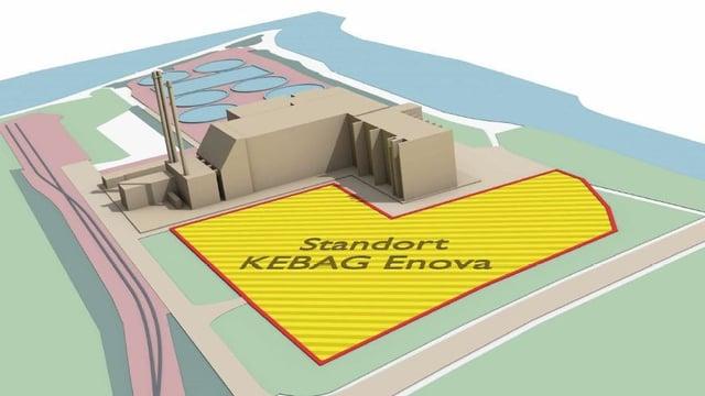 Visualisierung des Standorts der neuen Kehrichtverbrennungsanlage.