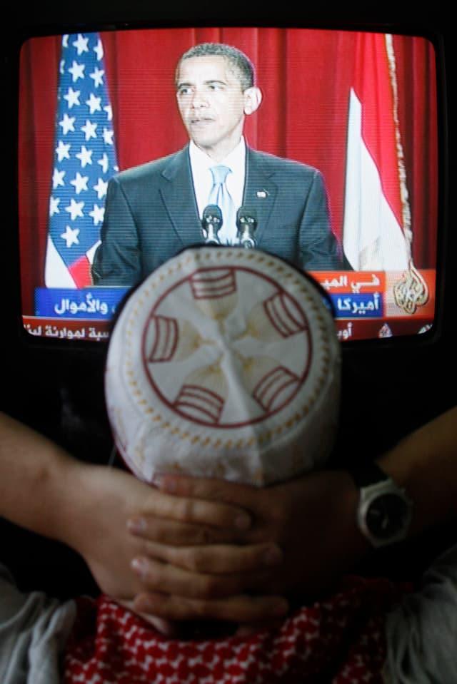 Palästinenser während der TV-Übertragung von Obamas Rede.