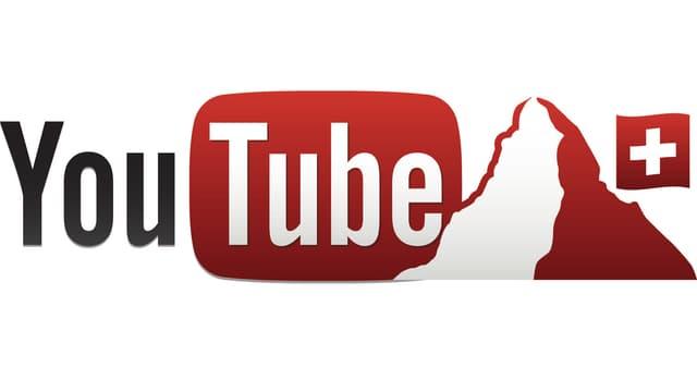 Das Bild zeigt das Logo von Youtube Schweiz (Youtube-Schriftzug neben Matterhorn mir Schweizer-Flagge).