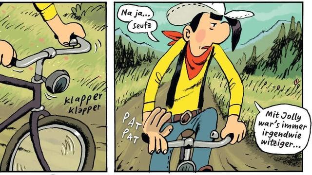 Ein Comic-Cowboy auf einem Rad.