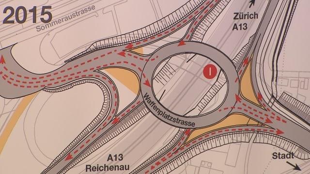 La nova rundella tar la sortida da l'autostrada Cuira Sid.