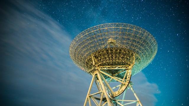 Grosse Radarstation vor nächtlichem Himmel