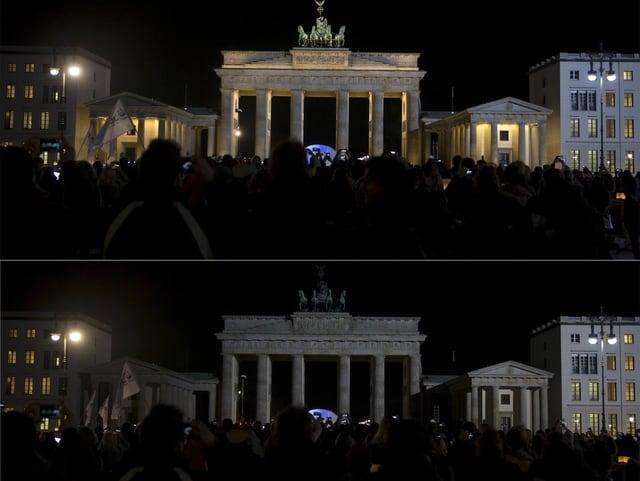 Das Brandenburger Tor in Berlin, mit und ohne Licht.