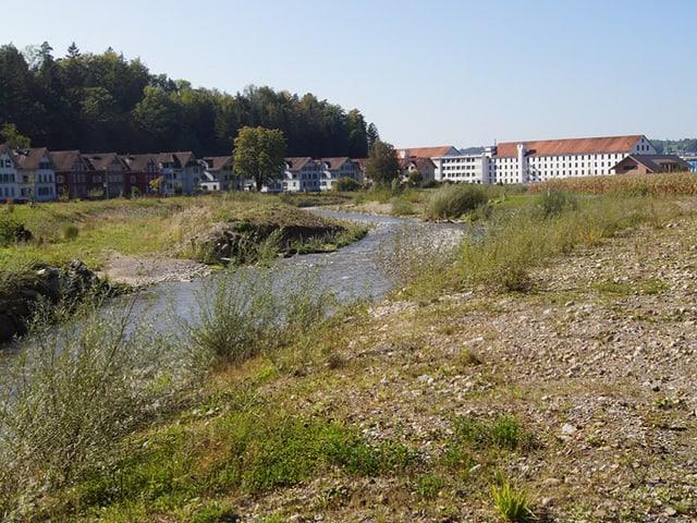 Ein Bach, daneben viel Grünfläche und im Hintergrund zwei Häuserreihen.