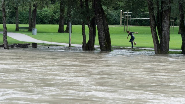 Die Hochwasser führende Aare im Eichholz nach neuen Regenfaellen am Dienstag.