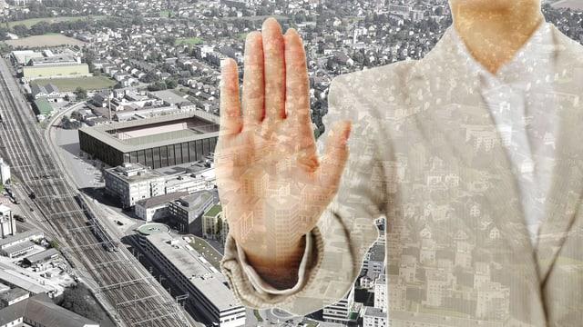 Visualisierung Aarauer Stadion darüber Mann, der abweisend die Hand hinhält.