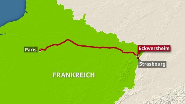 Karte: Eingezeichnet sind Paris, Strasbourg und Eckwersheim