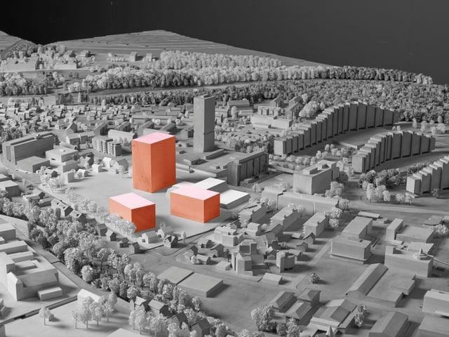 Visualisierung des knapp 60 Meter hohen Schulhauses und weiterer Gebäude.