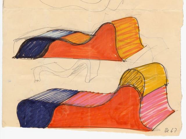 Eine Skizze zeigt zwei bunt eingefärbte, wellenförmige Blöcke.