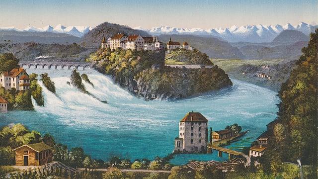 Postkarte, die den Rheinfall und die Alpen zeigt.