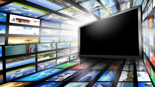 Bildschirm umrahmt von vielen verschiedenen Fernsehbildern