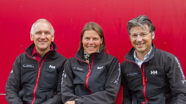 (da sanester) Peter Engler, Linda Netzer e Thomas Hunziker.