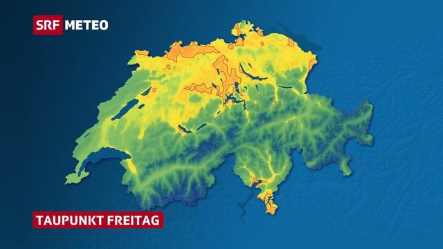 Karte der Schweiz mit farbig eingezeichnetem Taupunkt. Orange Fläche zeigen einen Taupunkt über der Schwüle-Grenze in der Nordwest- und Zentralschweiz sowie in Teilen des Tessins.