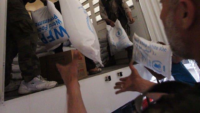WFP verteilt Nahrungsmittel im Syrien.