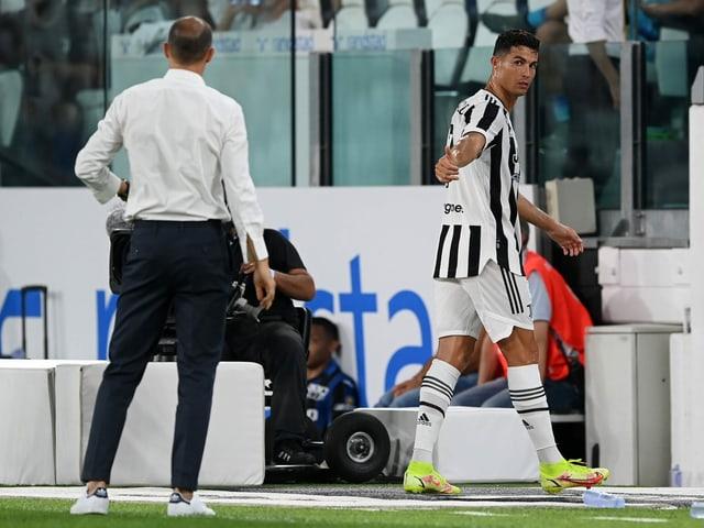 Cristiano Ronaldo und Trainer Massimiliano Allegri.