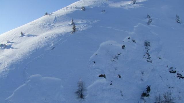 Ina costa cun fastizs da skiunzs e la zona da distatga d'ina lavina.