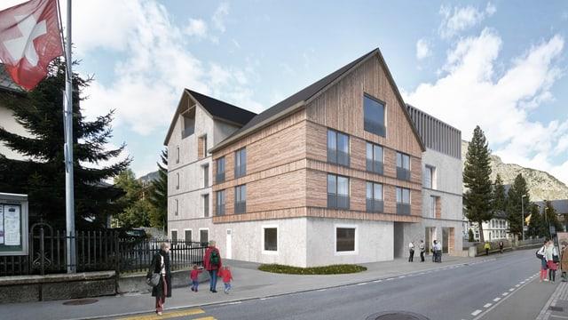 Neues Haus mit einer Holzfassade an einer Strasse