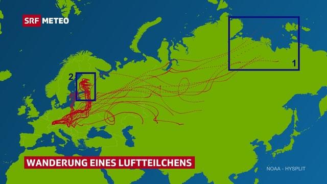 Die Landkarte zeigt den Ausschnitt Europa und Asien. Mit gepunkteten Linien werden die verschiedenen möglichen Wege eines Luftteilchens aufgezeigt. Mögliche Ziele wären Finnland oder Sibirien.