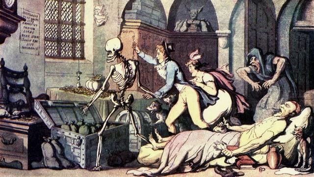 Menschen verscheuchen vor dem Totenbett den Tod in Form eines Skeletts.