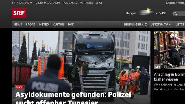 Printscreen von Website srf.ch mit einem Verweis auf den Live-Ticker zum Anschlag in Berlin